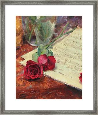Roses And Debussy Framed Print