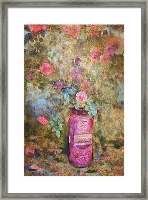 Roses And Fire Hydrant Framed Print