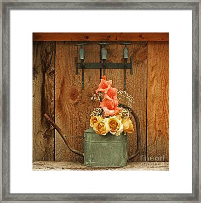 Framed Print featuring the photograph Roses And Gladiolus  by Marjorie Imbeau