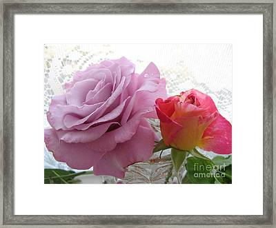 Roses And Lace Framed Print by Marlene Rose Besso