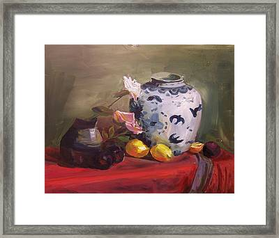 Roses And Lemons Framed Print