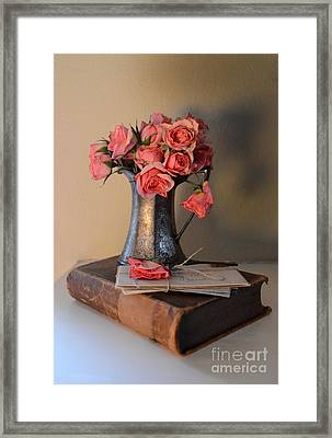 Roses And Letters On A Vintage Book Framed Print by Jill Battaglia