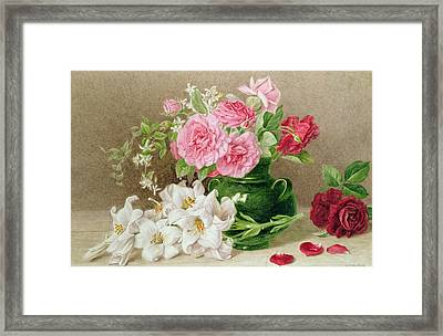 Roses And Lilies Framed Print by Mary Elizabeth Duffield