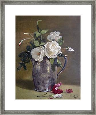 Roses And Onion Skins Framed Print by Kathryn Donatelli