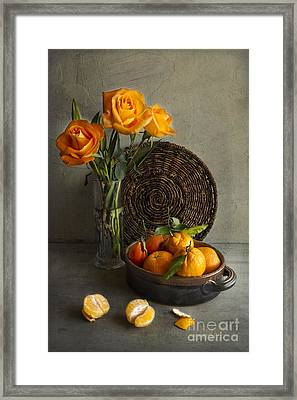 Roses And Oranges Framed Print by Elena Nosyreva