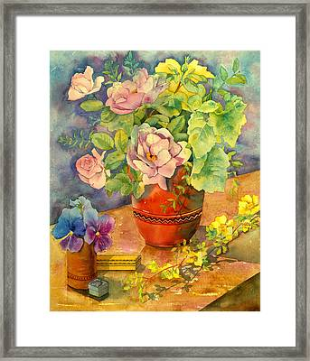Roses And Pansies Framed Print by Julia Rowntree