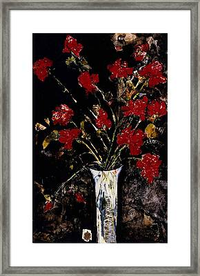 Framed Print featuring the painting Roses And Remembrance by Elaine Elliott