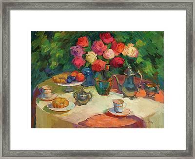 Roses And Tea Framed Print