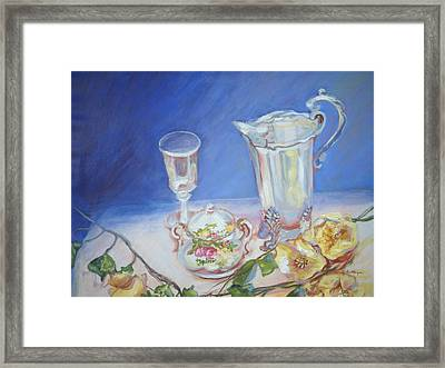 Roses And Tea Framed Print by Patricia Kimsey Bollinger