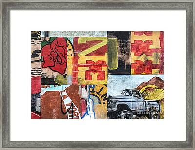 Framed Print featuring the mixed media Roses And Trucks by Terry Rowe