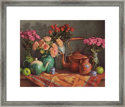 Roses And Wedgewood Framed Print by Sarah Blumenschein
