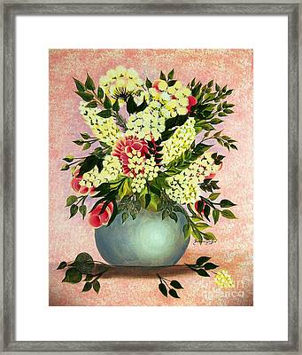 Roses And White Lilacs Framed Print by Barbara Griffin