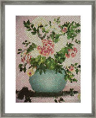 Roses And White Lilacs Mosaic Art  Framed Print by Barbara Griffin