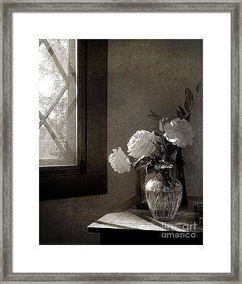 Roses At The Attic Window Framed Print