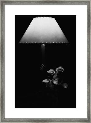 Framed Print featuring the photograph Roses By Lamplight Bw by Ron White