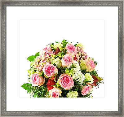 Roses Colorful Flower Bouquets Framed Print by Boon Mee