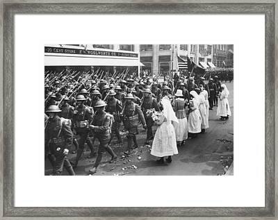 Roses For 2nd Division Parade Framed Print by Underwood Archives