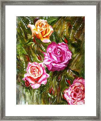 Framed Print featuring the painting Roses by Harsh Malik