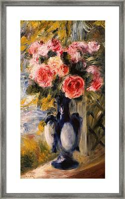 Roses In A Blue Vase Framed Print by Pierre Auguste Renoir