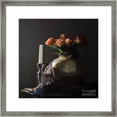 Roses In A Darkening Room Framed Print