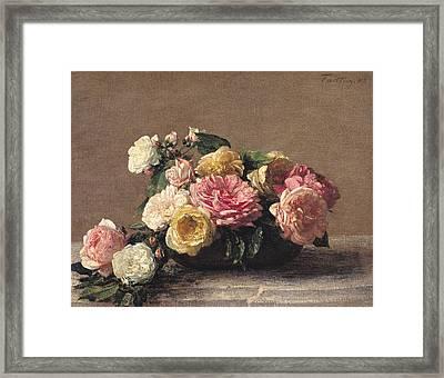 Roses In A Dish Framed Print by Ignace Henri Jean Fantin-Latour