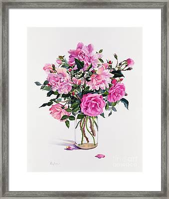 Roses In A Glass Jar  Framed Print