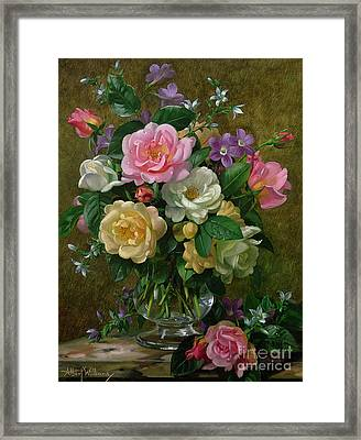Roses In A Glass Vase Framed Print by Albert Williams