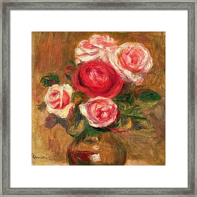 Roses In A Pot Framed Print by Pierre Auguste Renoir