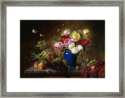 Roses In A Vase Peaches Nuts And A Melon On A Marbled Ledge Framed Print
