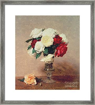 Roses In A Vase With Stem Framed Print by Ignace Henri Jean Fantin-Latour
