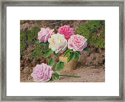 Roses In An Earthenware Vase By A Mossy Framed Print by John Sherrin