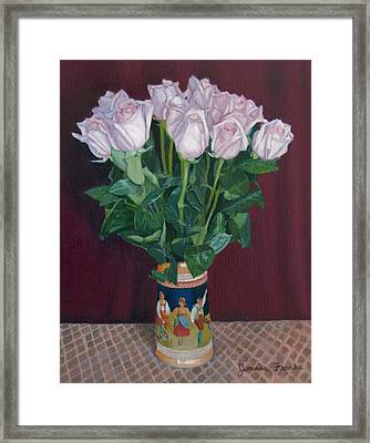Roses In Beer Stein Framed Print