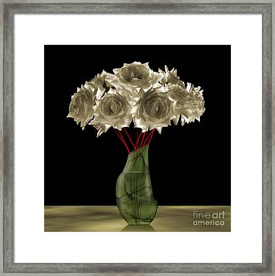 Roses In Green Vase Framed Print