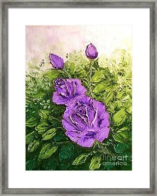Roses In Lavender Framed Print by Peggy Miller