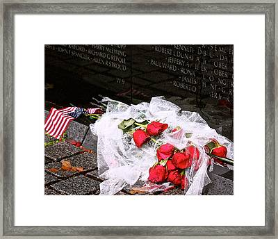 Roses In The Rain Framed Print