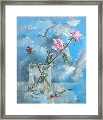 Roses In The Window Framed Print