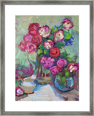 Roses In Two Vases Framed Print