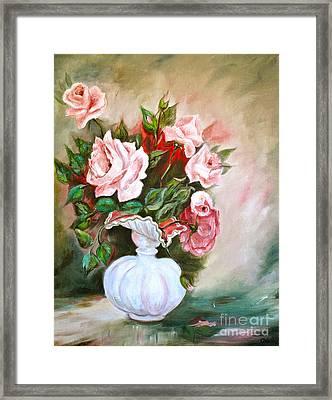 Roses In Vase Framed Print by Virginia Ann Hemingson