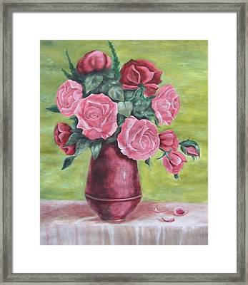Roses In Vase Framed Print by Vlatka Kelc