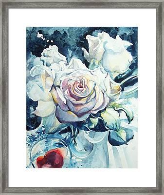 Roses In Winter Morning Light Framed Print