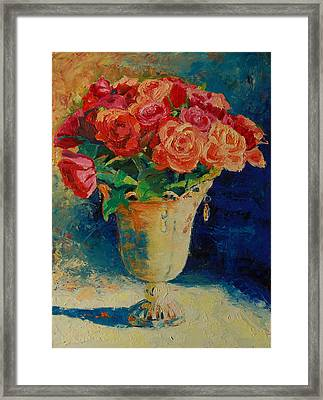 Roses In Wire Vase Framed Print