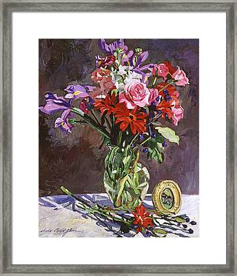 Roses Irises And Gerbras Framed Print