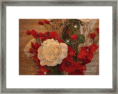 Roses Music Bubbles And Love Framed Print by Kathy Baccari