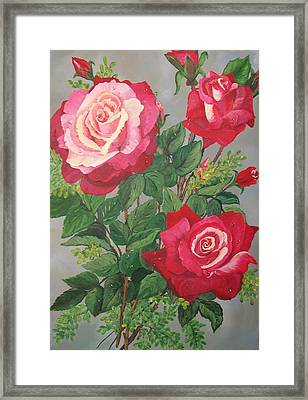 Roses N' Rain Framed Print by Sharon Duguay
