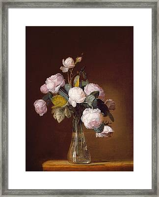 Roses On A Stone Ledge Framed Print