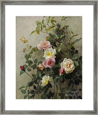 Roses On A Wall Framed Print by George Cochran Lambdin