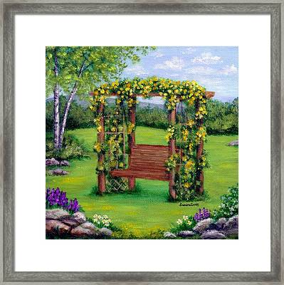 Roses On The Arbor Swing Framed Print