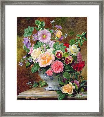 Roses Pansies And Other Flowers In A Vase Framed Print