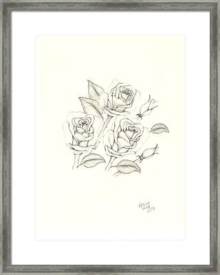Framed Print featuring the drawing Roses by Patricia Hiltz