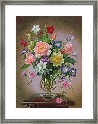 Roses Peonies And Freesias In A Glass Vase Framed Print by Albert Williams
